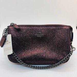 NWT Coach Maroon Glitter Bag/Clutch Chain Handle